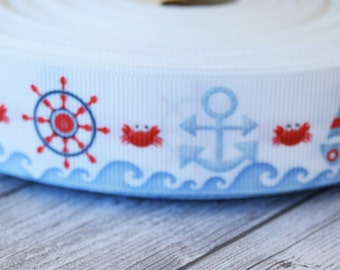 "Nautical ribbon - Lighthouse ribbon - 1"" grosgrain ribbon - Crab anchor ribbon - DIY hair bows - DIY wreaths - Crafting ribbon - Blue red"