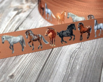 "7/8"" horse ribbon - 3 or 5 yard lot - equestrian hair bow DIY - Brown ribbon - Horses - Cowgirl ribbon - Farm ribbon - Farm animals"