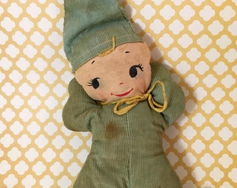 Very Vintage Blue Corduroy Doll Toy