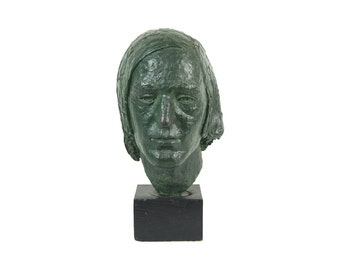 Vintage Mid-Century Bronze Bust of Unknown Man's Head