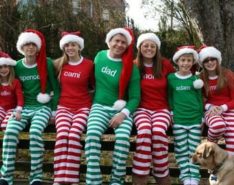 Christmas Pajamas - Embroidered name Christmas Pj's - Christmas Pajamas for the family - Family Christmas Pajamas with Name