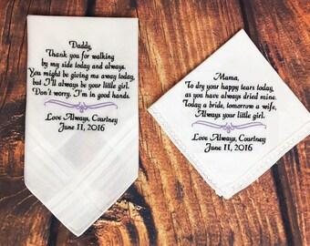 Wedding handkerchiefs set of 4, Personalized wedding handkerchiefs, Mother of the bride gift, Wedding Keepsake