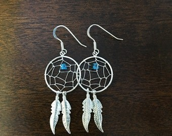 Sterling silver dream catcher earrings with turquoise stone