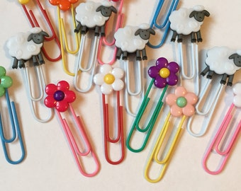 Sheep and Flower Paperclip Bookmarks / Set of 3