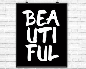 Boho Wall Art Decor, Boho Wall Print, White Typography Wall Print, Beautiful, Girls Room Wall Art, Black Wall Poster, Black Wall Art Decor