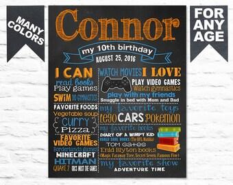 Printable 10th birthday chalkboard sign - Video Games birthday chalk board poster for a boy 9th 8th 11th (272)