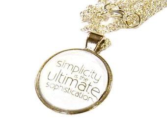Simple Jewelry - Simplicity Quote - Minimalist Gift - Leonardo Da Vinci - Quote Necklace - Quote Pendant - DaVinci Quote - Gift Ideas