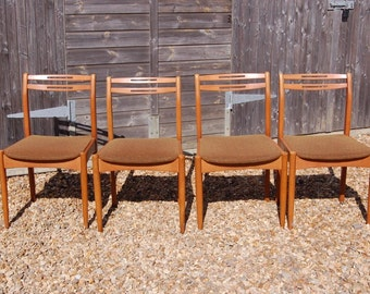 Retro! Set of Four Danish Style Dining Chairs