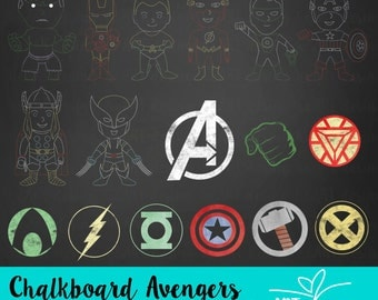 Chalkboard Cute Avengers Clipart / Digital Clip Art for Commercial and Personal Use / INSTANT DOWNLOAD