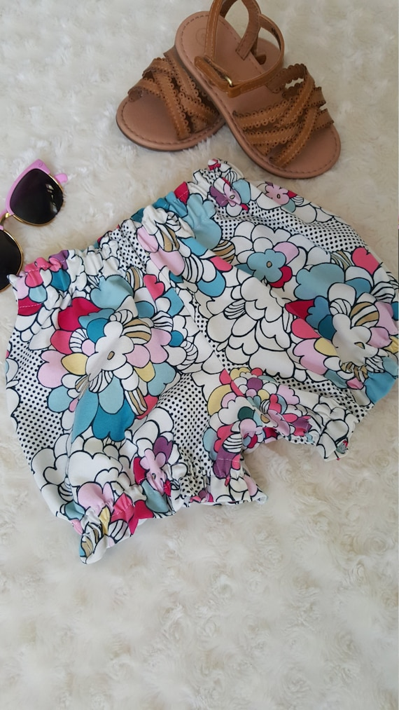 Girls ruffle shorts / bloomers choose your print woodland friends, freshly picked, bloom