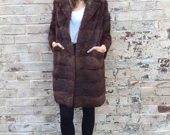 Vintage Rabbit Fur 3/4 Long Coat Jacket - Mint Condition