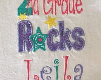 2nd Grade Rocks Girls Applique Shirt