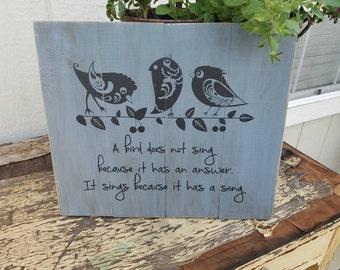 Handpainted Bird Wall Hanging - 12x12