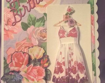 3d ladies flowery birthday card with a  dress and rose design, suitable for any lady,a name,family member, age can be added if requested