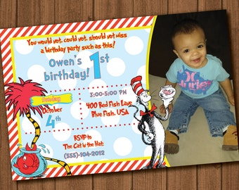 Dr. Seuss birthday file invite with photo