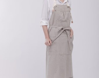 Linen Pinafore apron  | Linen Apron  | Japanese Apron  | Washed long Apron  No. 1023