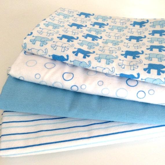 Blue & White Elephant Pattern Soft Baby Wrap, Blanket, Swaddle 100 cm x 120 cm, 100% Cotton