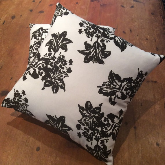 Floor Cushion Black And White Floral  Cover 70cm x 70cm, Quality Cotton