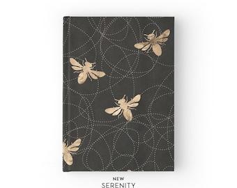 Hardcover Journal / Hardcover Notebook - Honey Bee, Bee Pattern, Black, Gift for Her, NewSerenityStudio