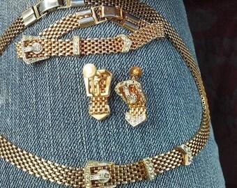 Vintage gold belt buckle set