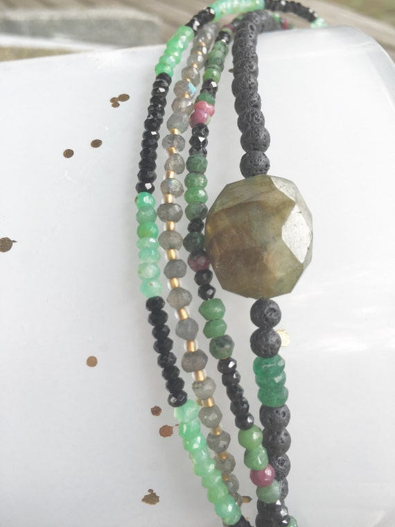 "Ruby Zoisite & Black Spinel ""Everyday"" Necklace"