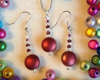 Red Earring and Necklace Set