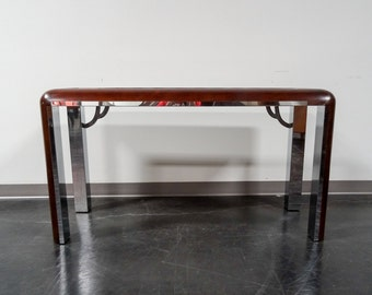 Art Deco Burl Wood and Chrome Console / Sofa / Entry / Foyer Table