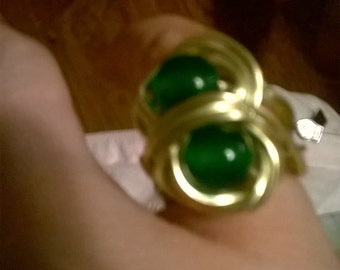 Emerald Double Wrapped Bead Ring