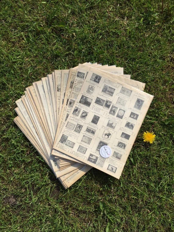 20 STAMP BOOK Pages / Vintage Stamp Pages / Old Book Pages / Origami Paper Sheets Scrapbook Paper / Old Stamp Sheets / Decoupage Paper Pack