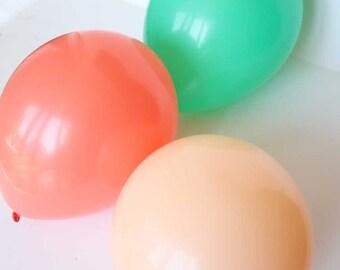 "Coral, blush, and emerald green latex balloons - 11"" - Set of 6.  Blush pink balloons.  Coral latex balloons.  Green latex balloon set."