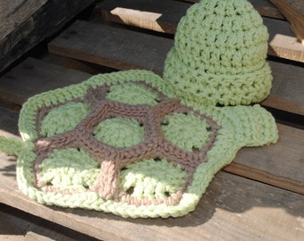 Crochet Newborn Turtle Hat, Crochet Baby Turtle Hat, Green Turtle Cuddle Cape Set, Green Baby Hat NB-3 month, Newborn Photography Prop
