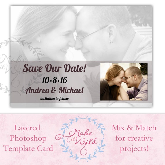 Save the date digital card template photoshop digital art for Electronic save the date templates