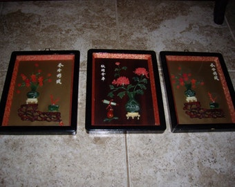 "3- 8 x 10"" Framed & Matted Vintage Asian Pictures"