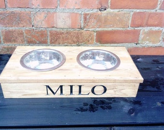 Personalised Carved Name Pet Bowl Holder