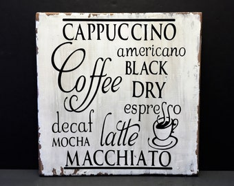 Rustic Coffee Sign - Farmhouse Style - Primitive wood sign - coffee cappuccino mocha latte sign