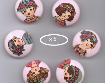 "6 ""Doll Dolls""-fabric covered buttons"