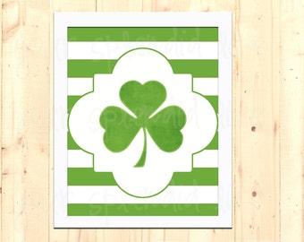 Shamrock Green Stripes St Patrick's Day Printable 8 x 10