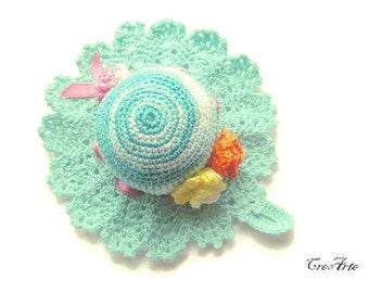 Crochet Pincushion, Shades of Aquamarine Pincushion, Handmade Pincushion, Sewing Accessories, Puntaspilli (Cod. 61)