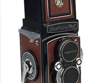 Yashica Mat or Yashica D - Replacement Cover - Laser Cut Recycled Leather - Vintage
