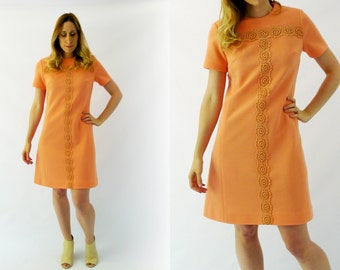 1960s Peach Macrame Dress Size Medium