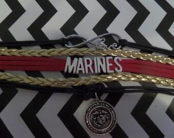 Marine Corps Bracelet Military Bracelet Marine Wife Marine Mom Marine Corps Gift Marine Corps Jewelry