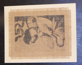 Burlap Print, 8x10 matted--Vintage Angel with Lute
