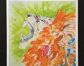 "Roaring Lion Watercolor ""Intercession"" Print"