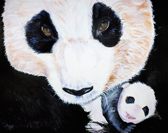 """Panda Bear with Baby Panda """"A Father's Love"""" Original Art Print"""