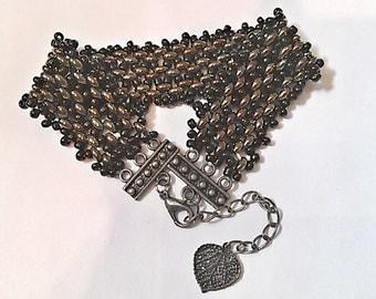 Cooper Twin Seed Bead Bracelet - Copper and Black Herringbone Ribbon Patterned Bracelet - Luminescent Bead Bracelet
