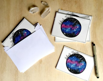 Galaxy Stationary - Thank You Cards - Greeting Cards - Blank Card - Watercolor Artwork -  Set of 6