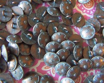 Copper Metal Button Vintage Copper Metal Shank Button with Aged Blue Patina Vintages Buttons-12pcs CLEARANCE SALE