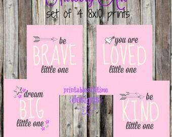 Girl Nursery Art- Little One- Nursery Print-  be brave, you are loved, be kind, dream big