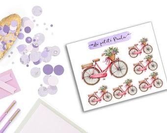 6 vintage pink bicycles S057