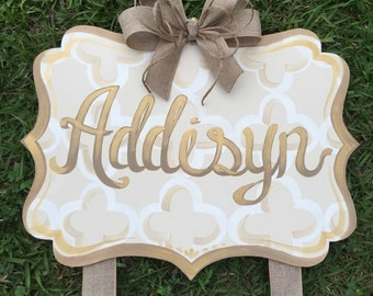 Personalized Bow Holder, Custom Bow Holder, Initial Bow Holder, Monogram Bow Holder, Hand Painted Bow Holder